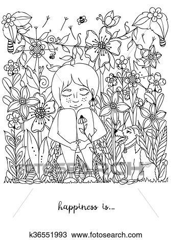 Clipart Vektor Abbildung Zentangl Mädchen Sommersprossen