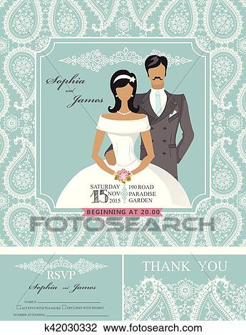 Clipart Of Wedding Invitations Winter Paisley Pattern Bride Groom