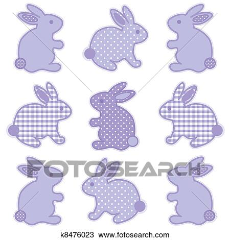 Baby Bunny Rabbits In Pastel Lavender Gingham And Polka Dots For Books Scrapbooks Albums Spring Easter EPS8 Compatible