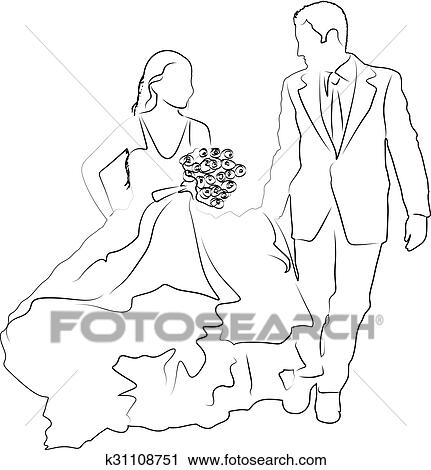 Clipart Of Bridal Couple K31108751