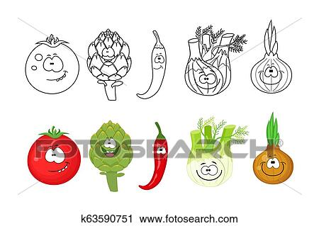 Coloring book vegetables stock vector. Illustration of activities ... | 319x450