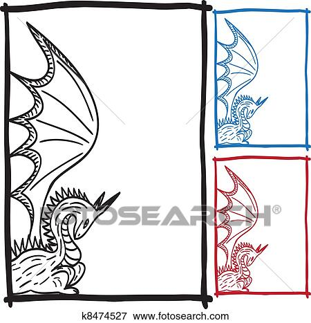 Clip Art of Dragon sketch frame picture k8474527 - Search Clipart ...