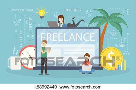 Freelance Concept Illustration Clip Art K58992449 Fotosearch