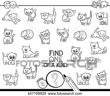 One Of A Kind Game With Cats Color Book Clip Art K57109929 Fotosearch