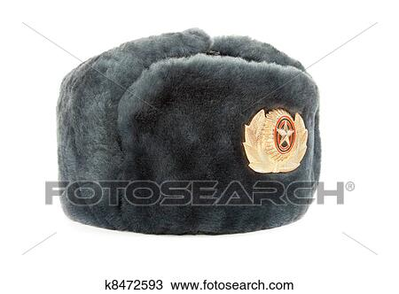 4f6fe3133a41c Russian winter army hat isolated on white background