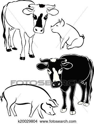 Clipart vache cochon k20029804 recherchez des clip - Dessin cochon debout ...