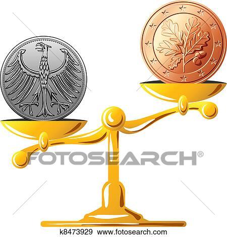 Clip Art Of Vector German Mark Versus The Euro K8473929 Search