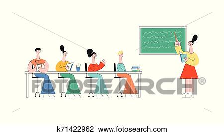 Students sitting at desks in classroom side view Vector Image