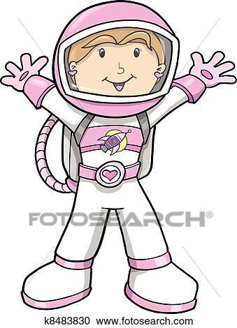 かわいい 宇宙飛行士 漫画 女の子 ベクトル クリップアート切り