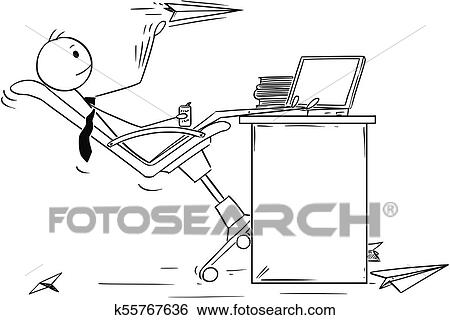 Cartoon Of Bored Businessman Throwing Paper Airplanes Clip Art