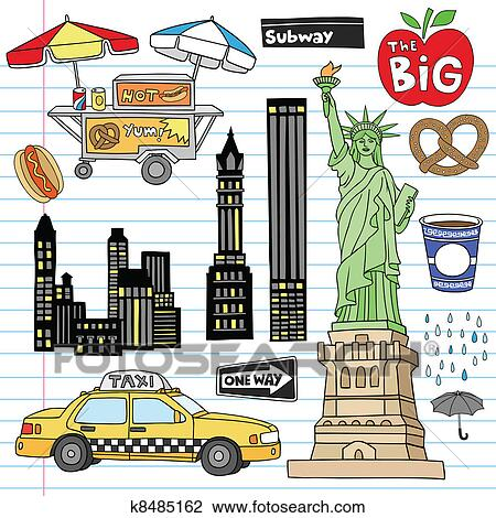 Clipart citt new york doodles vettore set k8485162 for Disegni new york