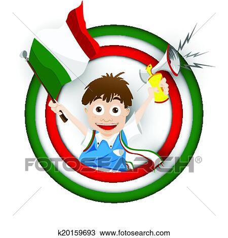 Italien Fussballfan Fahne Karikatur Clipart