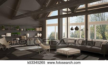 Living Room Of Luxury Eco House Parquet Floor And Wooden Roof Trusses Panoramic Window On Summer Spring Meadow Modern White And Gray Interior Design Stock Illustration K53345265 Fotosearch