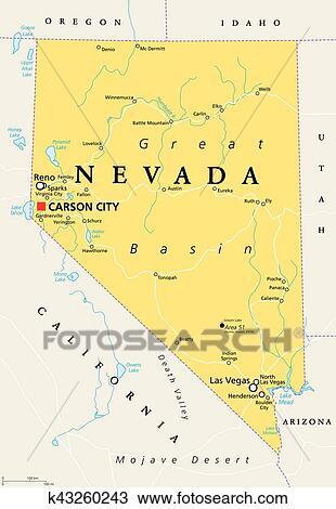 Usa Cartina Politica Con Capitali.Nevada Politico Mappa Clipart K43260243 Fotosearch