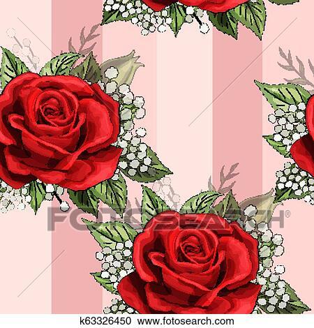 Rosa Vermelha Buquê Flor Desvios Creeper Elementos Seamless Padrão Papel Parede Clipart