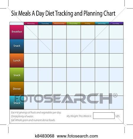 Clip Art Sechs Mahlzeiten A Tag Wochentlich Diat Verfolgen