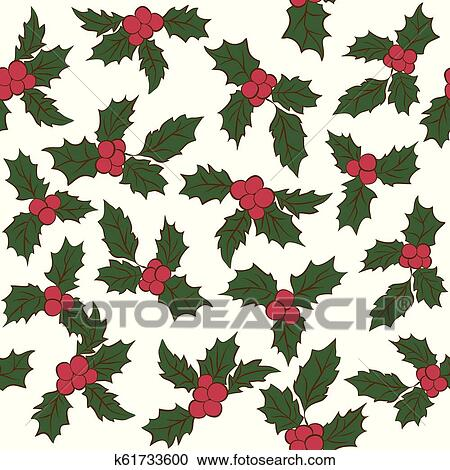 Christmas Leaves.Set Of Christmas Holly Leaves Seamless Pattern Of Green Leaves And Red Berries Clipart