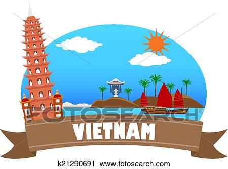 clipart of vietnam tourism and travel k21290691 search clip art rh fotosearch com clip art travel stickers clipart traveling