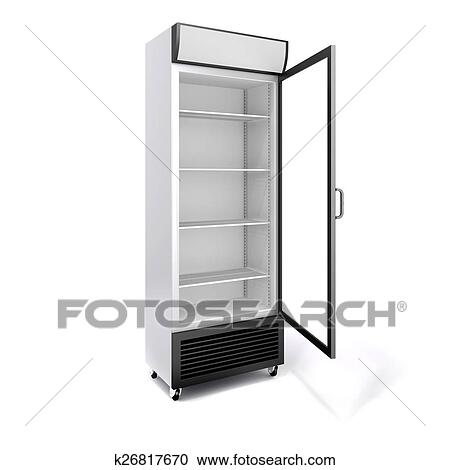 Stock Photography Of 3d Commercial Fridge With Glass Door On White