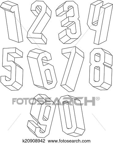 Clipart 3d Schwarz Weiß Geometrisch Zahlen Gemacht Mit Lines