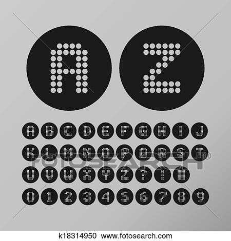 Clipart Of Abstract Circle Dot Font K18314950 Search Clip Art