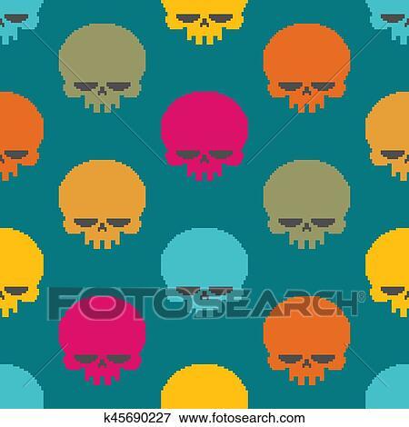 Crâne Pixel Art Seamless Pattern Tête Squelette Pixelated Arrière Plan Retro 8 Morceau Texture Clipart