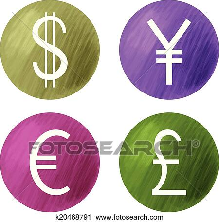 Clipart Of Currencies Symbols Dollar Pound Euro And Yen K20468791