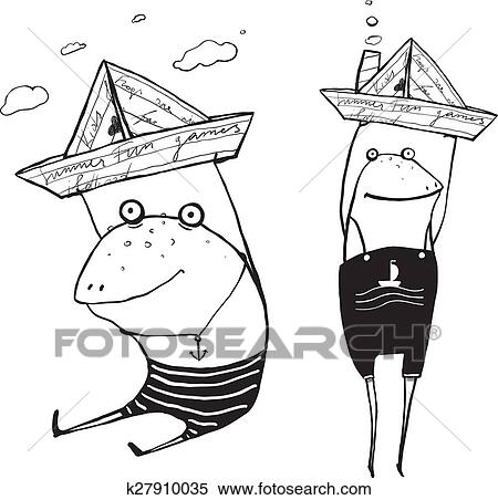 Clipart Of Frog Sailing Toy Paper Boats Outline Drawing K27910035