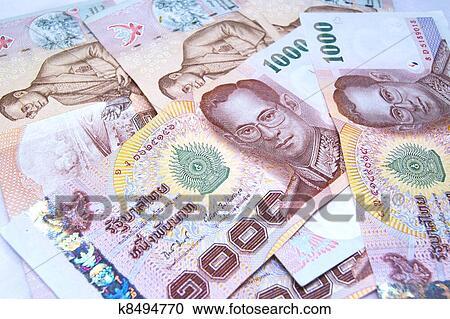 Grand Plan De 1000 Baht Billets Banque Thailande Argent