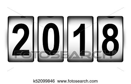 creative abstract new year 2018 beginning celebration concept 3d render illustration of countdown timer clock with 2018 number text isolated on white