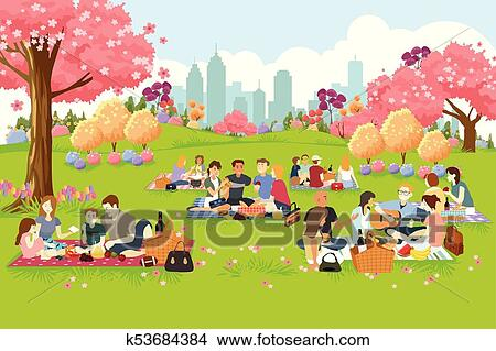 People Having Picnic at the Park During Spring Clipart ...
