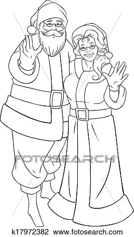 Santa And Mrs Claus Waving Hands For Christmas Coloring Page Clipart