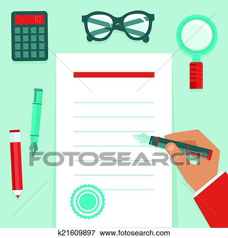 Clip Art of Vector resume concept in flat style k21609897 - Search ...