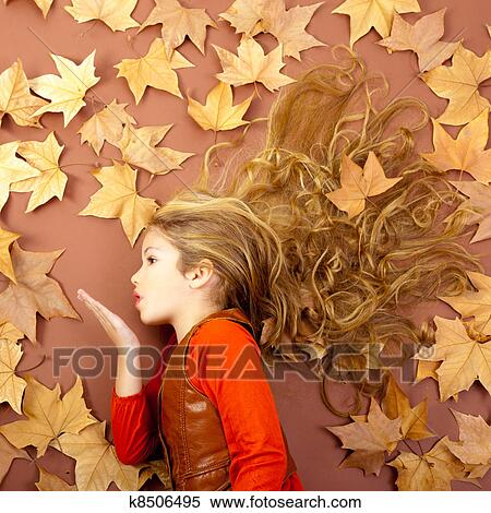 Autumn Girl On Dried Leaves Blowing Wind Lips Stock Photography K8506495 Fotosearch