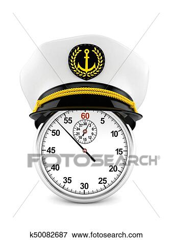 2c97ffcd73a Stock Illustration of Captain s hat with stopwatch k50082687 ...