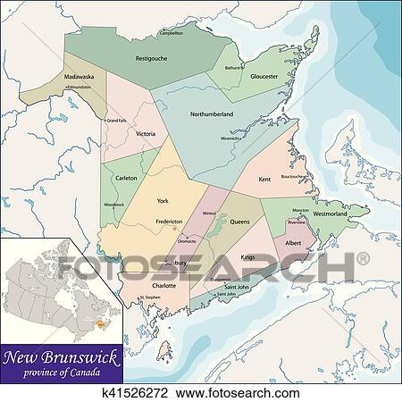 Carte Canada Nouveau Brunswick.Carte De Nouveau Brunswick Clipart