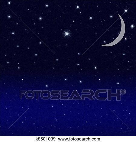 Croissant De Lune Et Noir Ciel Etoile Banque D Illustrations