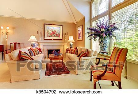 Archivio Fotografico - elegante, lusso, soggiorno, con, caminetto, e ...