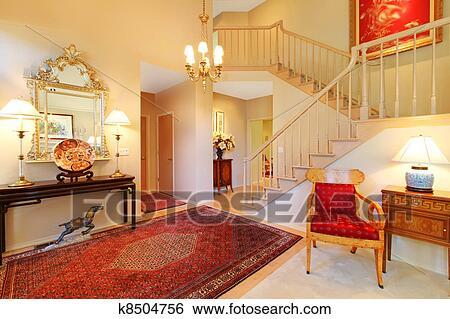 Archivio di Immagini - lusso, entrata, soggiorno, con, rosso ...