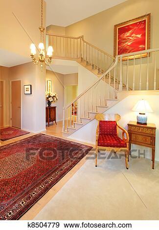 Archivio fotografico - lusso, entrata, soggiorno, con, rosso ...