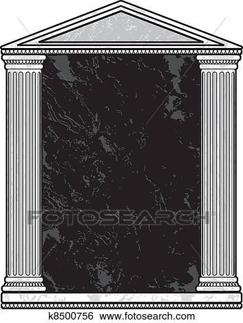 cf6bb21c0784 Clip Art of Marble Column Frame k8500756 - Search Clipart ...