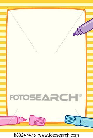 Clipart - marco, y, marcadores, a3, rayas k33247475 - Buscar Clip ...