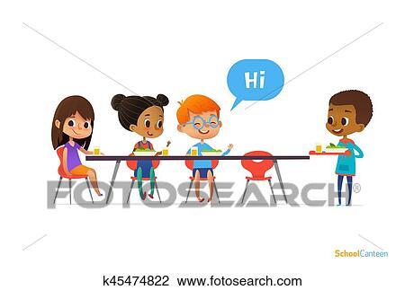 Clipart Multirassisch Kinder Sitzen Tisch In Schule Kantine