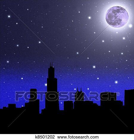 Clip Art Nero Notte Cielo Stellato E Luna K8501202 Cerca