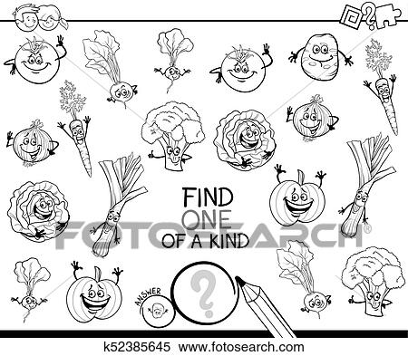 Clipart Of One Of A Kind Game With Vegetables Color Book K52385645