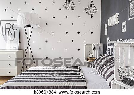 Unique, femme, chambre à coucher, idée Image