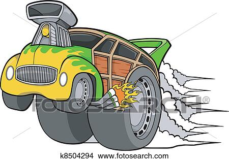 clipart of woody wagon racer car vector k8504294 search clip art