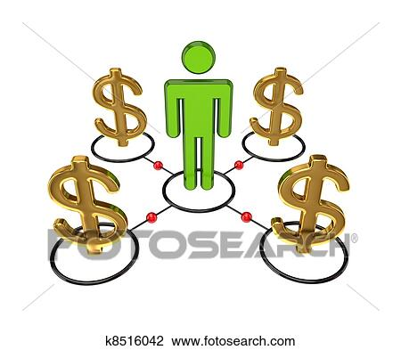 clip art of 3d small person and dollar signs k8516042 search