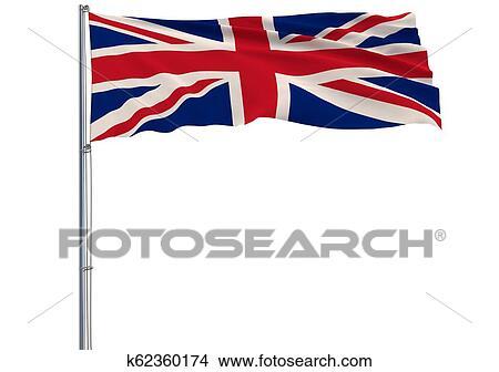 Dibujos Aislar Bandera De Reino Unido En Asta Ondear En
