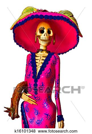Day Of The Dead Traditional Mexican Catrina Skeleton Isolated